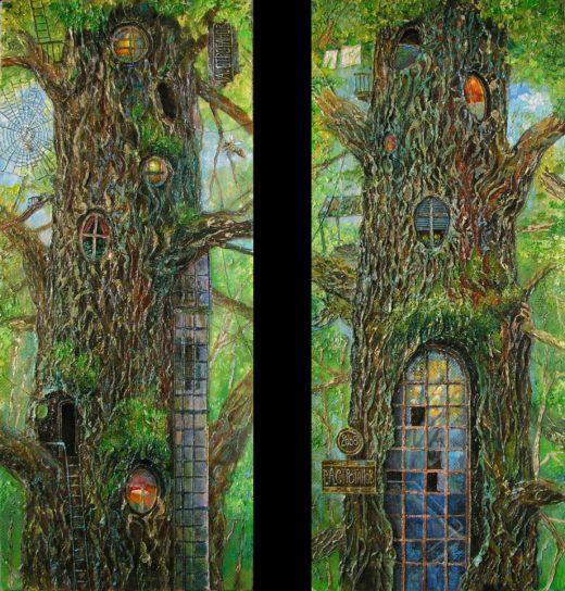 Дуб, жилое дерево, дупло, лифт на дерево