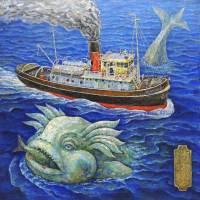 Морской змий, ловящий рыбу в Бретанском океяне
